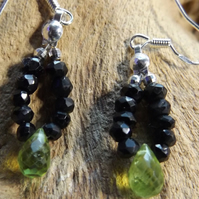Sterling silver black spinel and peridot earrings