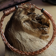 Viking knit copper bracelet with pyrite