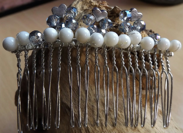 Silver heart and crystal with shell pearl hair comb