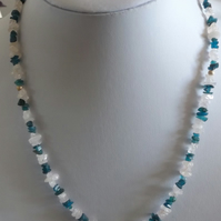 Rose quartz and neon apatite necklace