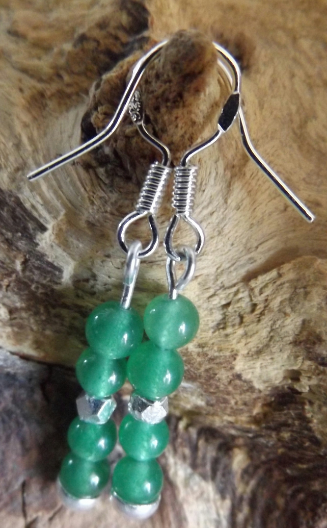 Green quartzite dangle earrings