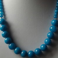 Blue quartzite necklace with silver flash spacers