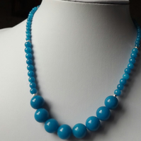 "Blue quartzite 18"" necklace with silver flash spacers"