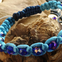 Shamballa blue satin macrame bracelet with cobalt blue crystals