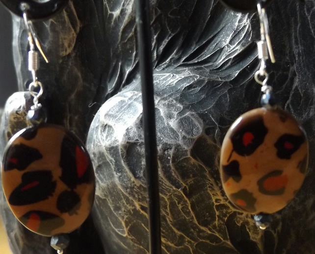 Oval leopard print earrings with 3cm drop sterling silver coated black spinel