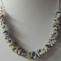 Sterling silver necklace with citrine amethyst neon apatite and rose quartz