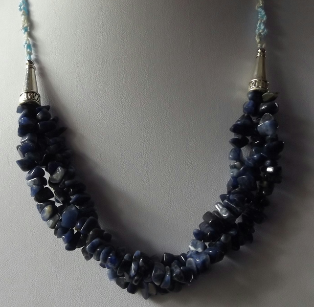 "Sodalite Necklace 22"" length with s clasp"