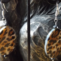 Shell leopard print earrings with black spinel and sterling silver