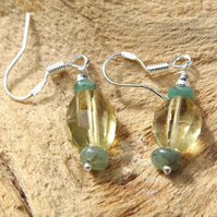 Lemon Quartz and Emerald sterling silver earrings