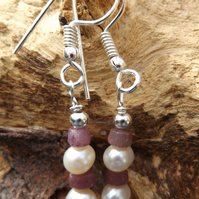 White freshwater cultured Pearl and Ruby earrings