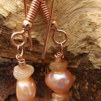 Peach pearls and peach moonstone earrings