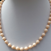 "Peach shell pearl 18"" necklace with peach moonstone"