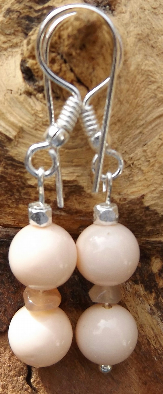 Peach shell pearls with peach moonstone earrings