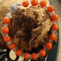 Coral coloured shell pearl and clear quartz magnetic clasp bracelet