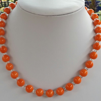 "Coral coloured shell pearl and clear quartz 18"" necklace"