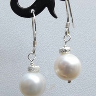 White cultured pearl sterling silver earrings