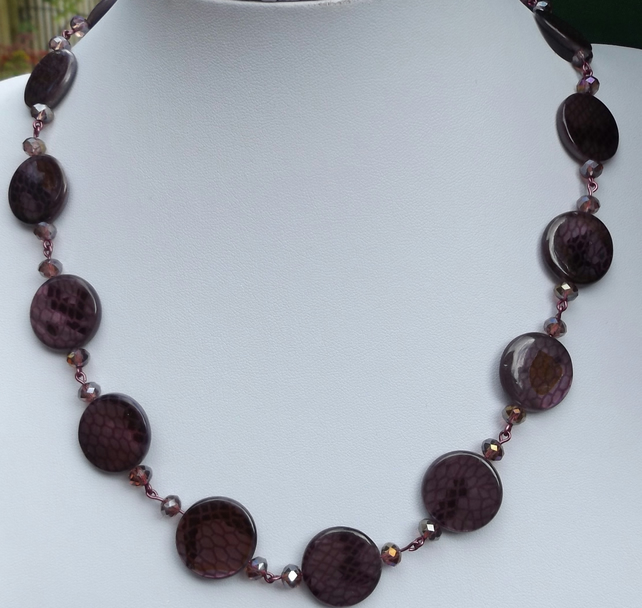 Shell pearl purple coins with purple faceted crystals necklace