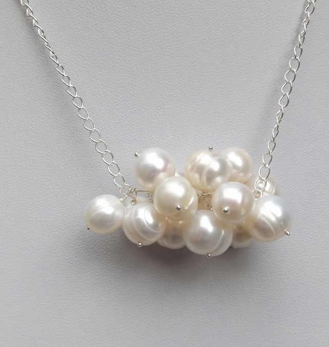 "16"" Cultured white pearl bubble necklace"