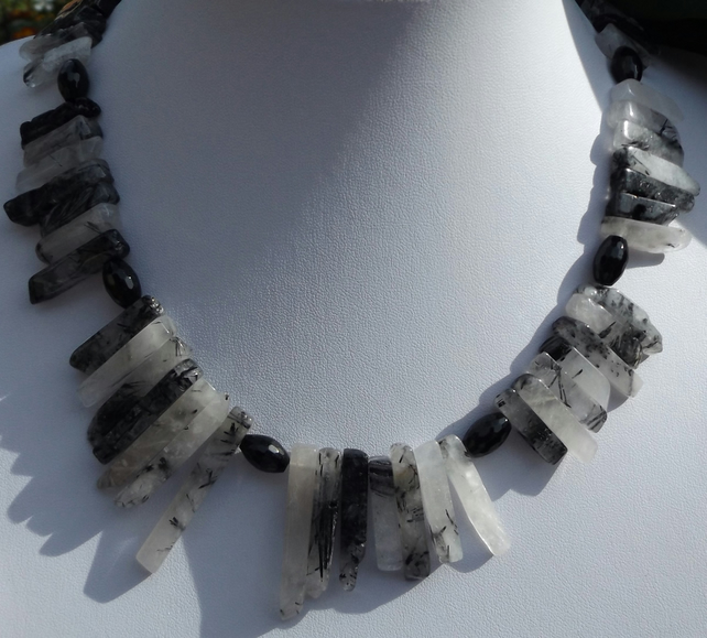 "19"" Black rutile quartz necklace with black agate"