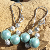 Mint green shell pearl earrings