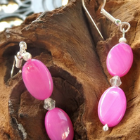 Hot pink shell pearl dangle earrings