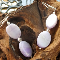 Lavender shell pearl dangle earrings