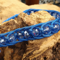 Macrame royal blue bracelet with light blue ab faceted crystals