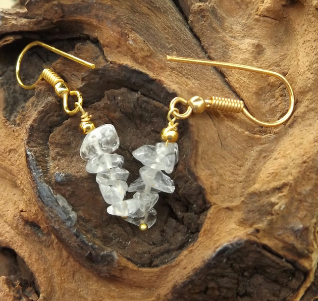 Clear quartz gold plated earrings