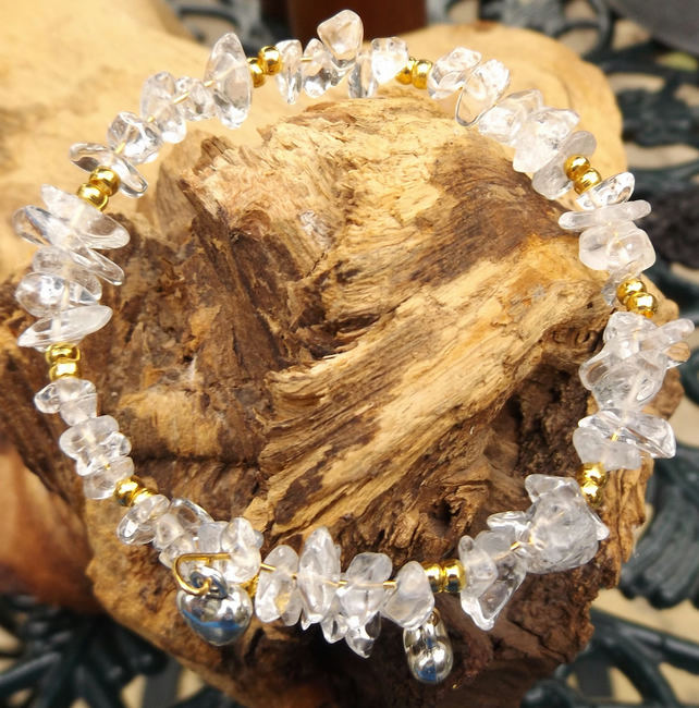 clear quartz and gold plated spacer beads with heart charms bracelet