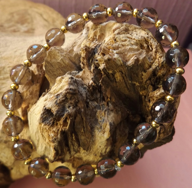Smokey quartz faceted stretch beaded bracelet