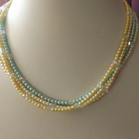 Pearl seed beaded necklace with crystals