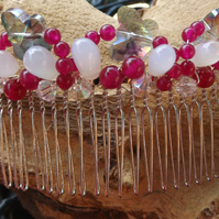 Crystal butterfly Hair combe with rose jade and chalcedony drops