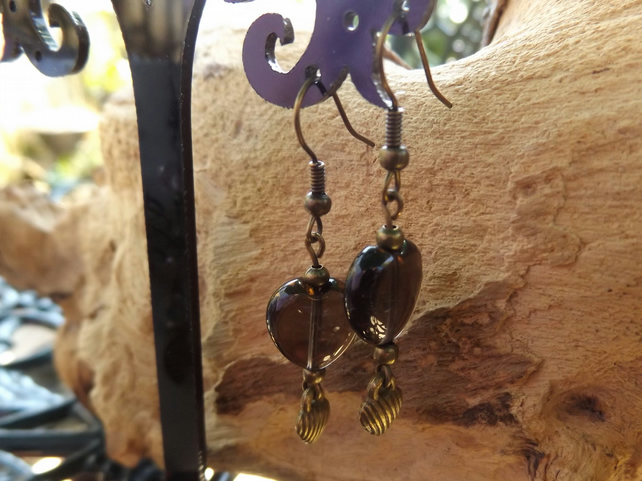 Smokey quartz puffy heart charm earrings with bronze heart