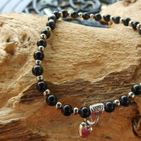 Golden Obsidian stretch bracelet with silver heart charm