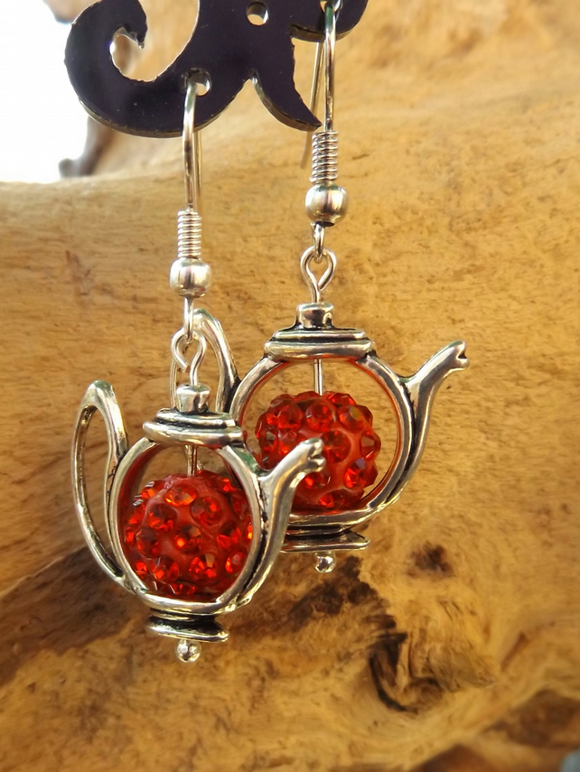 Silver teapot charm dangle earrings with red diamante