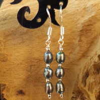 Sterling silver peacock pearl dangle earrings