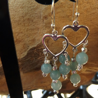 Aquamarine silver heart charm chandelier earrings