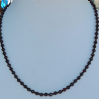 "Red marcasite and black spinel 19"" necklace"