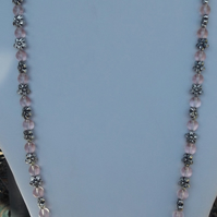 "Pale pink Glass 34"" beaded necklace with acrylic flower spacers"