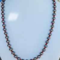 "Silver and red glass pearl 28"" necklace"