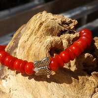 Red Coral stretch bracelet with silver butterfly charm