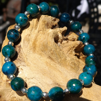 Chrysocolla and silver stretch bracelet