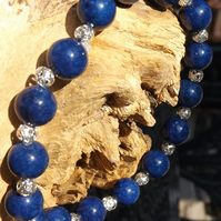 Lapis Lazuli and silver stretch bracelet