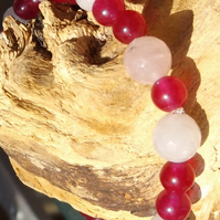 Rose quartz and rose jade stretch bracelet