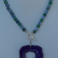 Agate necklace with purple agate slice pendant