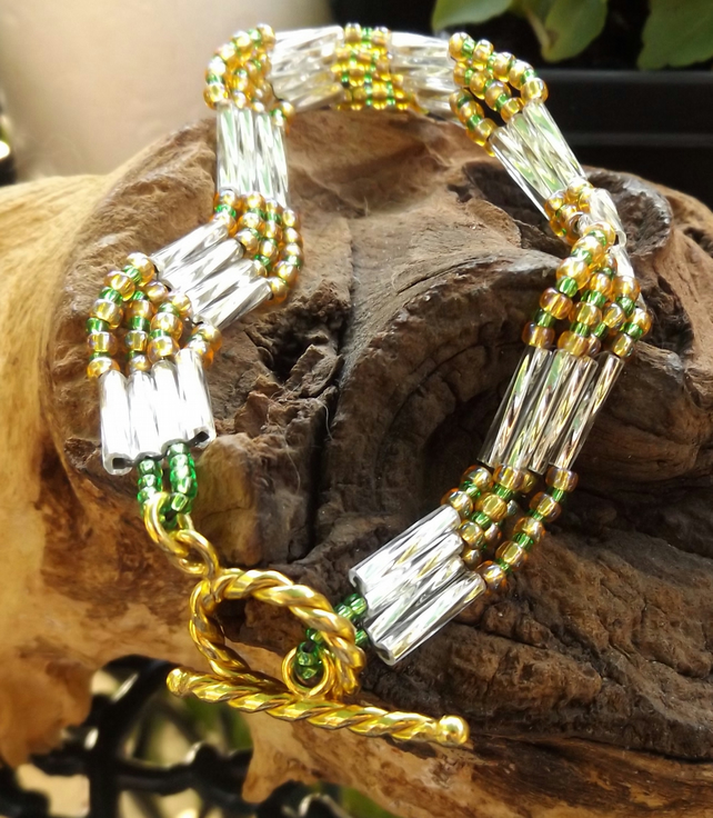 Zig Zag bugle beaded silver green and gold bracelet