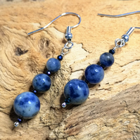 Blue Jasper and spinel dangle earrings