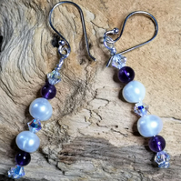 White cultured freshwater pearl earrings with amethyst and crystrals