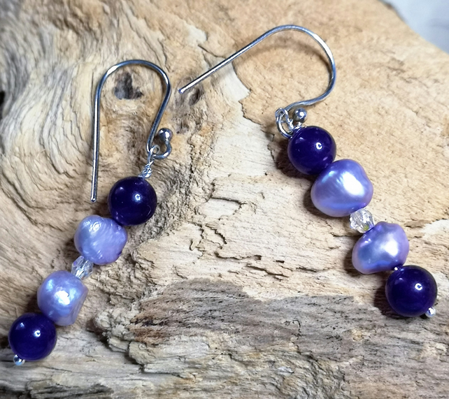 Lilac Cultured pearl and amethyst dangle earrings with cyrstal
