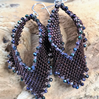 Russian leaf seed beaded earrings with spinel